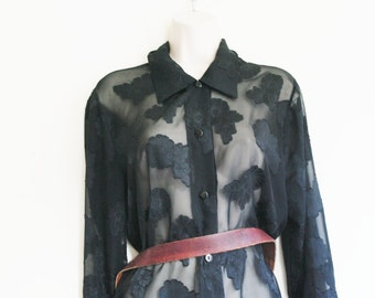 Vintage black flowers tranparent blouse