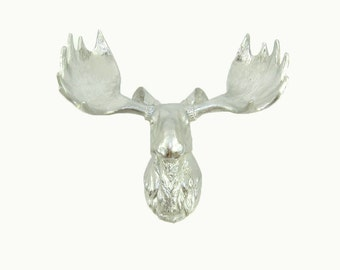 SALE! Chrome Leaf Moose Head Wall Mount, The Ines  by White Faux Taxidermy Animal Heads