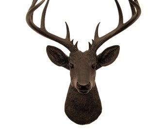White Faux Taxidermy - Faux Deer Head - The XL Coffee - Brown Resin Deer Head- Stag Resin Brown Faux Taxidermy- Chic & Trendy