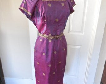 Vintage 50s Thai Silk Dress with Square Neckline and Belted Nipped Waist Bombshell Wiggle Dress VLV Mad Men SALE