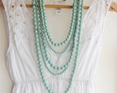 Mutilayers Mint Bead Bohemian Necklace for Summer on Beach Layered Necklace / Anthropologie Necklace / Chunky Statement / Jcrew Necklace