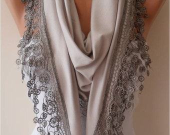 Grey Scarf Mother's Day Gift Scarf, Gifts For Her, Gifts For Women Cotton Scarf with Lace Edge - Triangular Scarf - Gift - Mothers Day