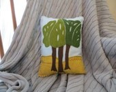 Appliqued and Hand Embroidered Felt Pillow, Trees with Blue Sky, Decorative Throw Pillow, Felt Pillow, Home Decor, Blue and Green, Trees