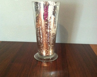 Vintage Silver Speckled Glass Vase