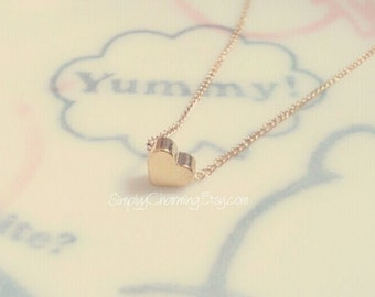 Tiny Heart Necklace Gold Or Silver Simple Small Love Elegant Dainty Jewelry 18 Inches