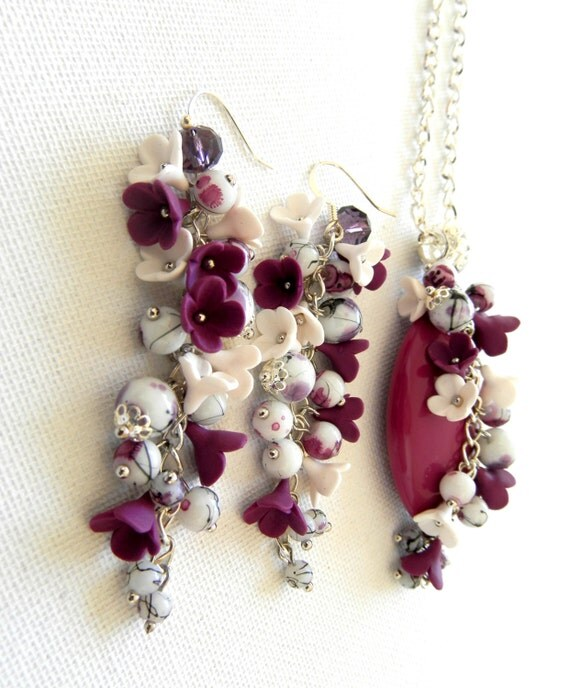 items similar to flower jewelry violet jewelry violet dangle earrings flower pendant floral. Black Bedroom Furniture Sets. Home Design Ideas