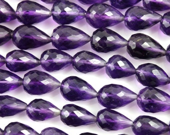 Natural Amethyst Faceted top drilled tear drops size 5-7-6x10 mm, Full Strand,8 Inches,Ameythst Top Drilled Drops, (AM/SDTR/5x7-6x10)