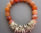 Bracelet with Agate and Silver Findings, Peach Agate Bracelet, metal bracelet, mixed metal bracelet, Beaded bracelet, muse411