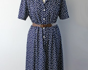 Vintage Navy Blue Shift Dress, White Pattern, Plus Sized