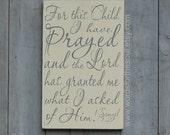 1 Samuel 1:27 For this Child I have Prayed Christian Scripture Subway Art Wooden Sign Nursery Adoption