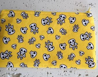 Yellow Skull & Crossbones Gadget Pouch