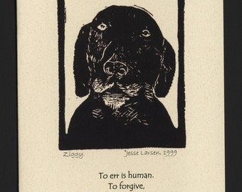 Card. Dogs. Ziggy, black lab-mix dog block print by Jesse Larsen on quality blank card w/quote. Made to order only, free US shipping. Smart