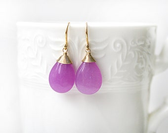 Wire Wrapped Purple Jade Gold Plated / Silver Rhodium Plated Earrings