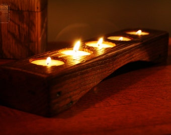 Personalized Candle Holder- Rustic Wood Tea light Candle Holder-  5 tealight holder with Curve- Unique Home Decor