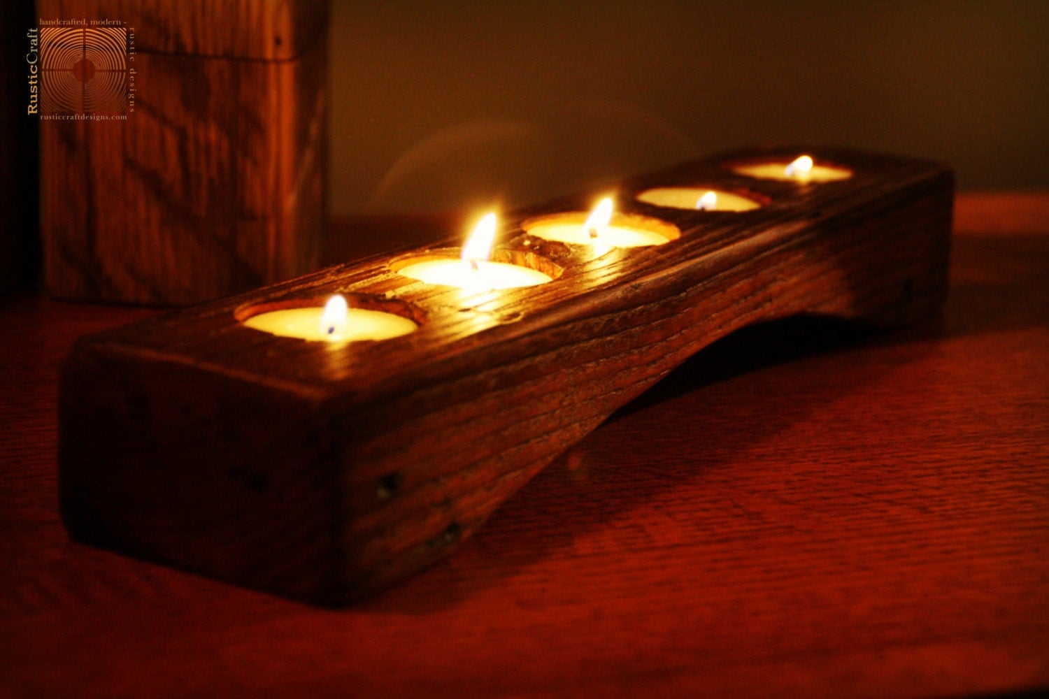Personalized Candle Holder Rustic Wood Tea light Candle