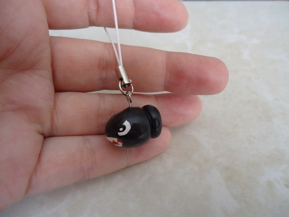 Handmade Painted Mario Bullet Bill Mini Lanyard Charm