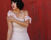 LAYAWAY Sheer light pink 1930s gown with velvet polka dots and unique ribbon sleeves