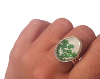 nature rings, green ring, real flower ring, gardeners gifts, adjustable ring, nature lover gift, cute rings, missmayoshop, pressed flower