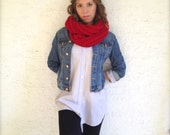 Red knit scarf, rib knit infinity scarf, chunky circle scarf, christmas scarf, gift under 50