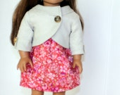American Girl Ecru Lined Linen Jacket and Lined Floral Print Dress with Gold Charm Necklace