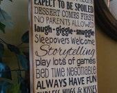 Grandpa's/Grandma's/Nana's/Grandparents' House Rules Wooden Primitive Typography Sign
