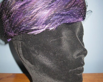 Vintage 1960's Purple Pillbox Hat Feather and Lace netting