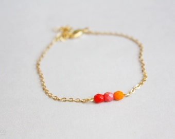 pumpkin spice ombré - dainty, minimalist, beaded bar bracelet