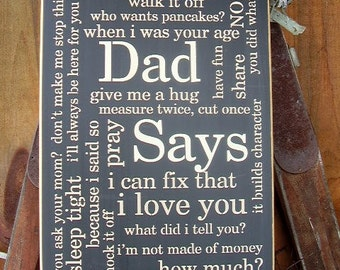 Gifts For Dad, Fathers Day Gift,  Dad Says, House Rules Sign,Words On Wood, Family Rules, Wood Signs