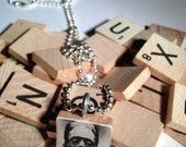 Frankenstein Scrabble Tile Pendant With Ball Chain Necklace