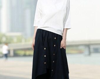 Navy Blue Ethnic Linen Wide Leg Pants skirt  C369