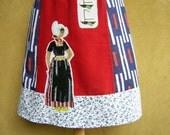 Volendam Fisherwoman embroidery, A-line skirt, red blue white, cotton, size Medium