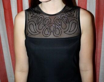 90s Black Body Con / Glittery Mesh Mini Dress