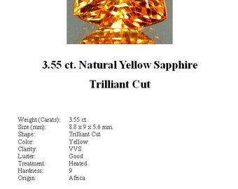 Synthetic Sapphire - Beautiful 3.55 Carat Yellow Trillion Cut Synthetic Sapphire...