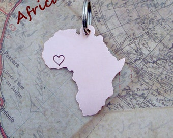 Africa Keychain with one heart/star- Customized & Handmade