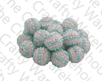 Stripe Chunky Rhinestone Beads | 20mm | Frozen Beads | Aqua & White Stripes | Chunky Gumball Beads | DIY Chunky Necklace | Pave Berry Beads