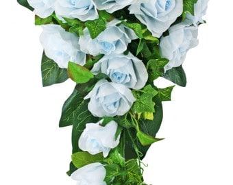 Light Blue Silk Rose Cascade - Bridal Wedding Bouquet