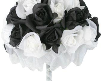 Black And White Silk Rose Hand Tie 3 Dozen Silk Roses - Bridal Wedding Bouquet