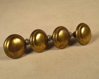 Brass Drawer Pulls Button 4 Round Set Antique Natural Patina