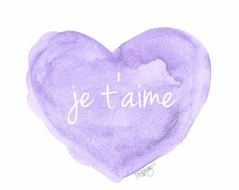 Lavender Nursery Decor, Je t'aime Watercolor Art Print, Purple Nursery Art, Love Quote, Lilac Nursery Decor, French Quote, Baby Art