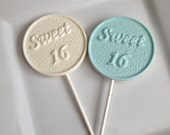 12 Chocolate Sweet 16 Lollipops Birthday Party Favors Candy Sweets Dessert Table Sixteen
