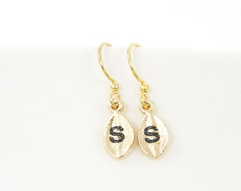 Gold Initial Earrings, Personalized Gold Earrings, Small Gold Letter Earrings, Gold Leaf Earrings Gold Leaf Dangle Alphabet Charm Earrings