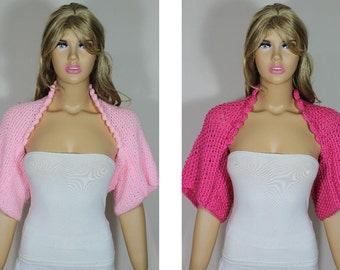Hand knitted crocheted (Pink) short sleeve shrug by Arzu's Style