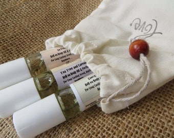 Aromatherapy Oils, Complete Set........3 Roll-on, All Natural Body Oils/Perfume 10 ml each With Hand Made Stamped, Muslin Bag