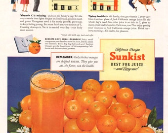Vintage Sunkist Orange Juice Ad  1950's California Oranges