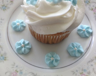 Baby Blue Royal Icing Flowers (100)
