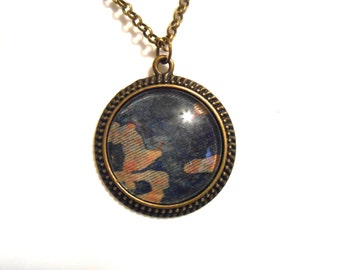 Fortuny Fabric Pendant Necklace Vintage Fabric