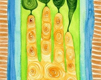 """Symbiosis, Original 9""""x6"""" watercolor painting"""