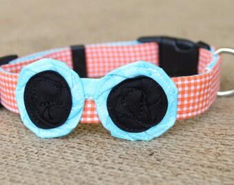Sunglasses Dog Collar - Mini Orange Gingham with Aqua Blue Dot Sunglasses and Black Lenses