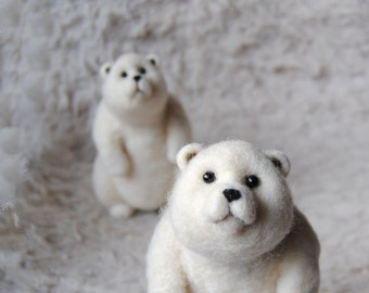 Pair Of Bears - Needle Felted Polar Bears - READY TO SHIP