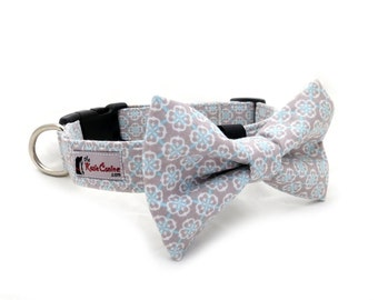 Sky Blue Damask on Light Grey Dog Collar (Dog Collar Only - Matching Bow Tie Available Separately)